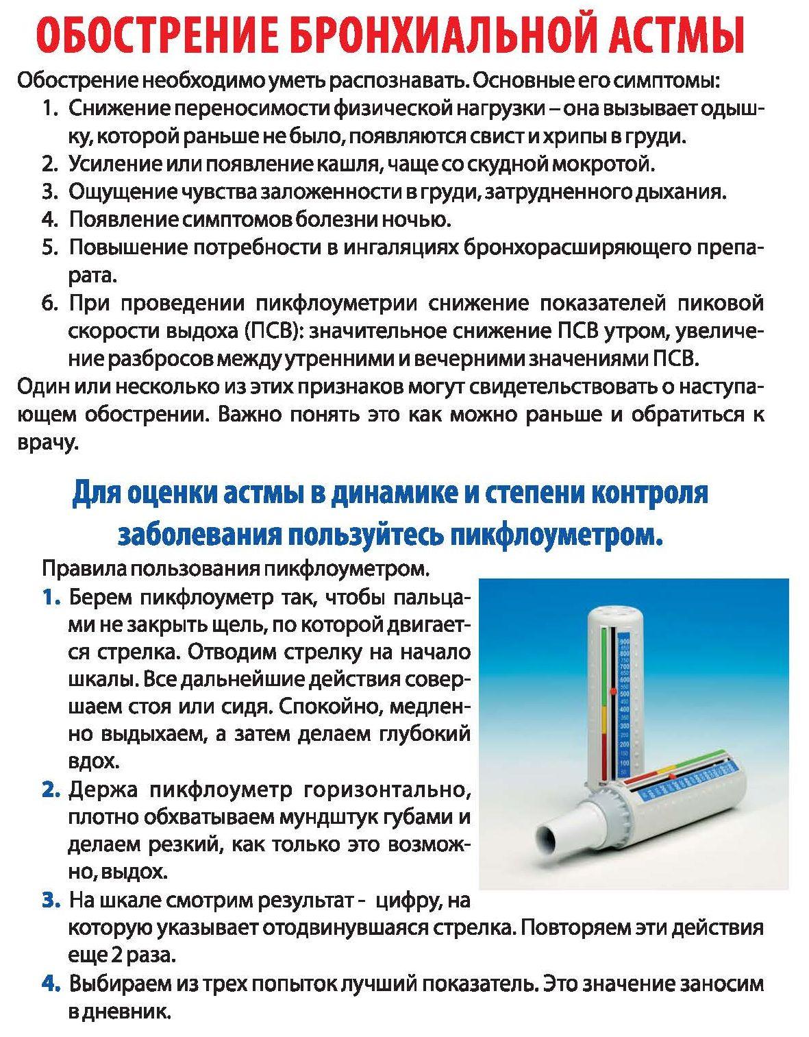 Обострение астмы